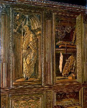The Study of Federigo da Montefeltro, Duke of Urbino: intarsia panelling depicting (L) a cupboard co