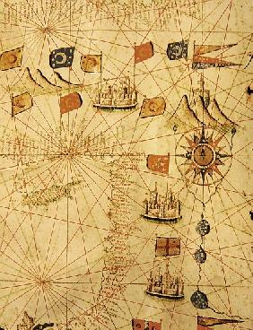 The Coast of Turkey and Cyprus, from a nautical atlas of the Mediterranean and Middle East (ink on v
