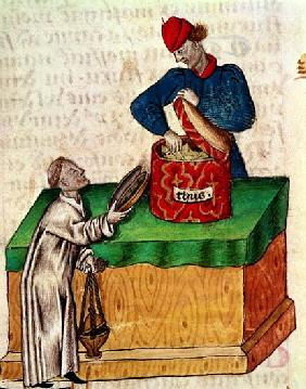 Ms Lat 993 fol.104r Incense seller, from ''Tractatus de Herbis''