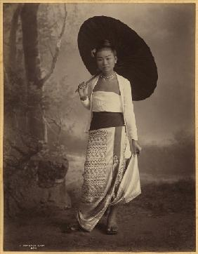 Burmese lady (albumen print) (b/w photo)