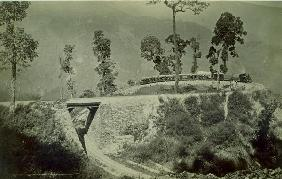 The loop at ''Agony Point'' at Tindharia on the Darjeeling Himalayan Railway, 1880s (albumen print)