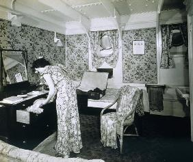 View of a cabin aboard the ''SS Ausonia'' (b/w photo)