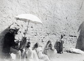 Paul Albert Laurens painting at Biskra, Algeria, 1892 (b/w photo)