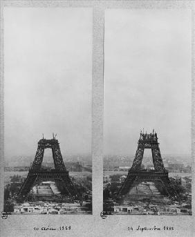 Two views of the construction of the Eiffel Tower, Paris, 14th August and 14th September 1888 (b/w p