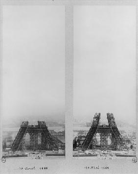 Two views of the construction of the Eiffel Tower, Paris, 10th April and 10th May 1888 (b/w photo)