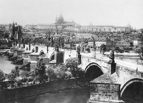 View of Prague showing the Imperial Palace (Hradschin) and the Charles Bridge, late 19th century (b/