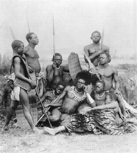 Warriors, Belgian Congo, 1894 (b/w photo)