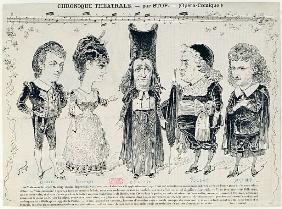Five caricatures of the cast of a French production of ''The Barber of Seville'',
