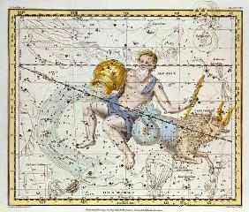 Aquarius and Capricorn, from 'A Celestial Atlas', pub. in 1822 (coloured engraving)