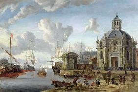 A capriccio of a Mediterranean Harbour with merchants and shipping at anchor