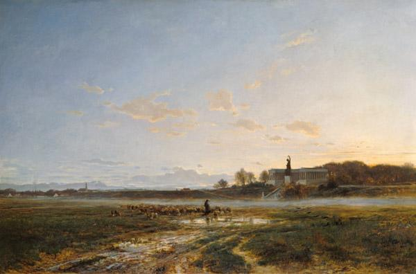The Theresienwiese with the Bavaria into evening a