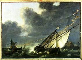 Boats in the Estuary of Holland Diep in a Storm