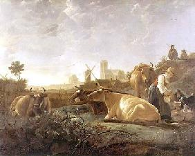 A Distant View of Dordrecht with Sleeping Herdsman and Five Cows ('The Small Dort')