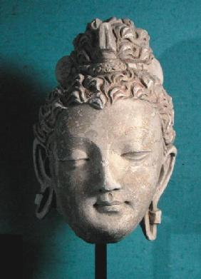 Head of a Smiling Buddha, Greco-Buddhist style, from Hadda