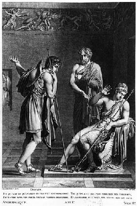 Orestes and Pyrrhus, illustration from Act I Scene 2 of ''Andromaque'' Jean Racine (1639-99) ; engra