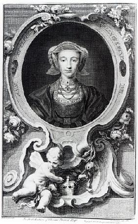 Anne of Cleves; engraved by Jacobus Houbraken