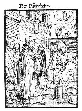 Death and the Parish Priest, from ''The Dance of Death''; engraved by Hans Lutzelburger, c.1538