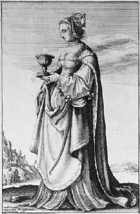 St. Barbara, etched by Wenceslaus Hollar