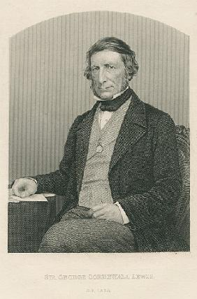 Sir George Cornewall Lewis; engraved by D.J. Pound from a photograph, from ''The Drawing-Room of Emi