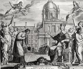 Robert de Sorbon (1201-94) and Cardinal Richelieu (1575-1642) in Front of the Sorbonne; engraved by