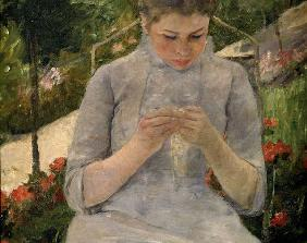 M.Cassatt / Young girl in garden / 1880