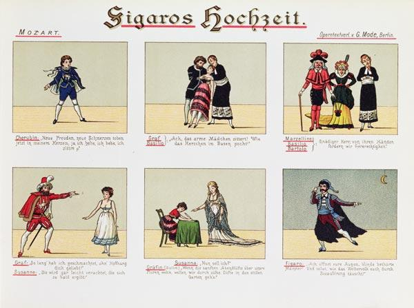 Six scenes from the opera ''The Marriage of Figaro'', by Wolfgang Amadeus Mozart (1756-91)