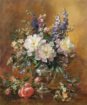 Still Life of Peonies and Delphiniums (oil on canvas)