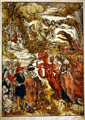 St. John in the desert, 1498 (colour woodcut)