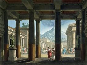 Entrance to the Amphitheatre, design for the opera 'L'Ultimo Giorno di Pompeii', 1827 (colour litho)