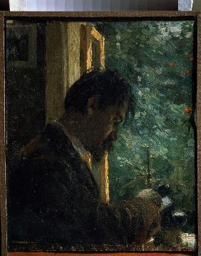 Portrait of the engraver Vasily Mathé  (1856-1917) at work