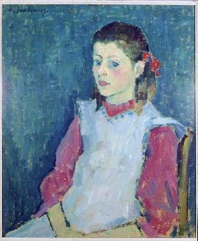 Girl with a white apron