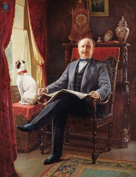 Portrait of M. le Comte de C. with his dog