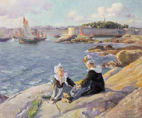 Breton Girls by the Harbour, Concarneau