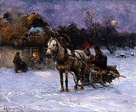 Polish Winter Landscape With Sledges Alfred Von Wierusz