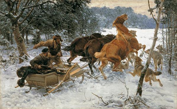 This One Attacked Wolves Alfred Von Wierusz Kowalski En