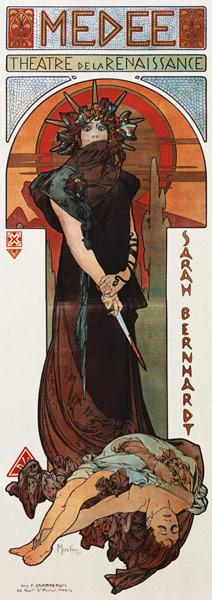 Médée, poster for Sarah Bernhardt's and the Théatr
