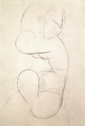 Seated Female Nude (blue chalk)