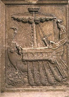 Plaque representing a quinquereme, a ship with five banks of oars