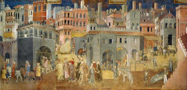 Effects of Good Government in the city (Cycle of frescoes The Allegory of the Good and Bad Governmen
