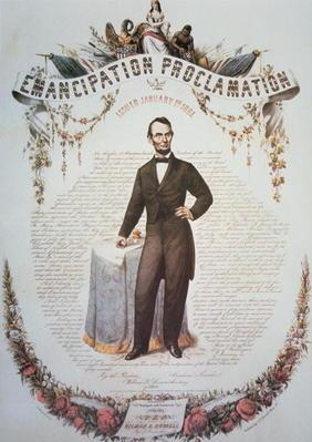 A souvenir print of the Emancipation Proclamation, issued 1st January 1863 (colour litho)
