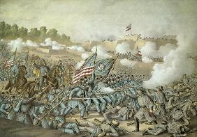 Battle of Williamsburg, 5th May 1862 by Kurz & Allison (colour litho)