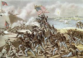 Black troops of the 54th Massachusetts Regiment during the assault of Fort Wagner, South Carolina, 1