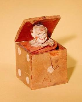 Jack-in-the-box (clown face), 1870-1900 (wood, textile, metal, paint)