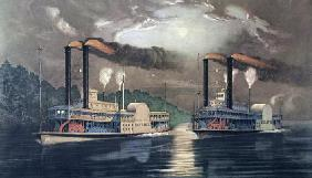Midnight Race on the Mississippi, 1860 (colour litho)