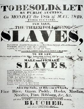 Poster for a slave auction, 1829 (litho)