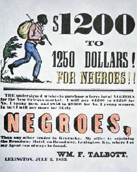 Poster for slave trade, New Orleans, 1853 (colour litho)