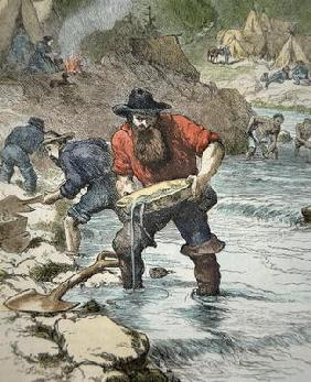 Prospectors panning for gold during the Californian Gold Rush of 1849 (coloured engraving)