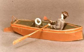 Toy boat and sailor, Ives, 1869 (wood & metal)