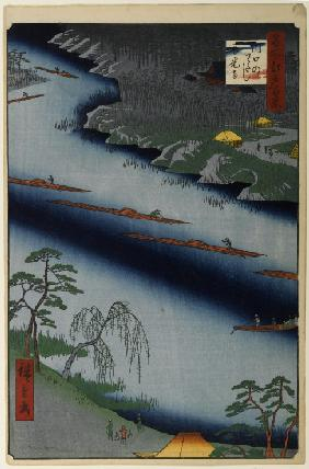 Zenko Temple and the Ferry at Kawaguchi (One Hundred Famous Views of Edo)