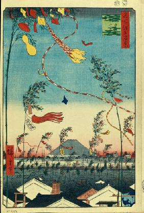 Prosperity Throughout the City during the Tanabata Festival (One Hundred Famous Views of Edo)